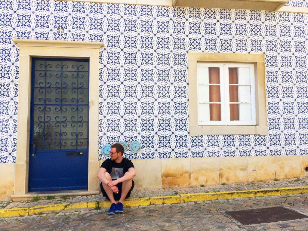 Tavira blaue Fliesen in Portugal
