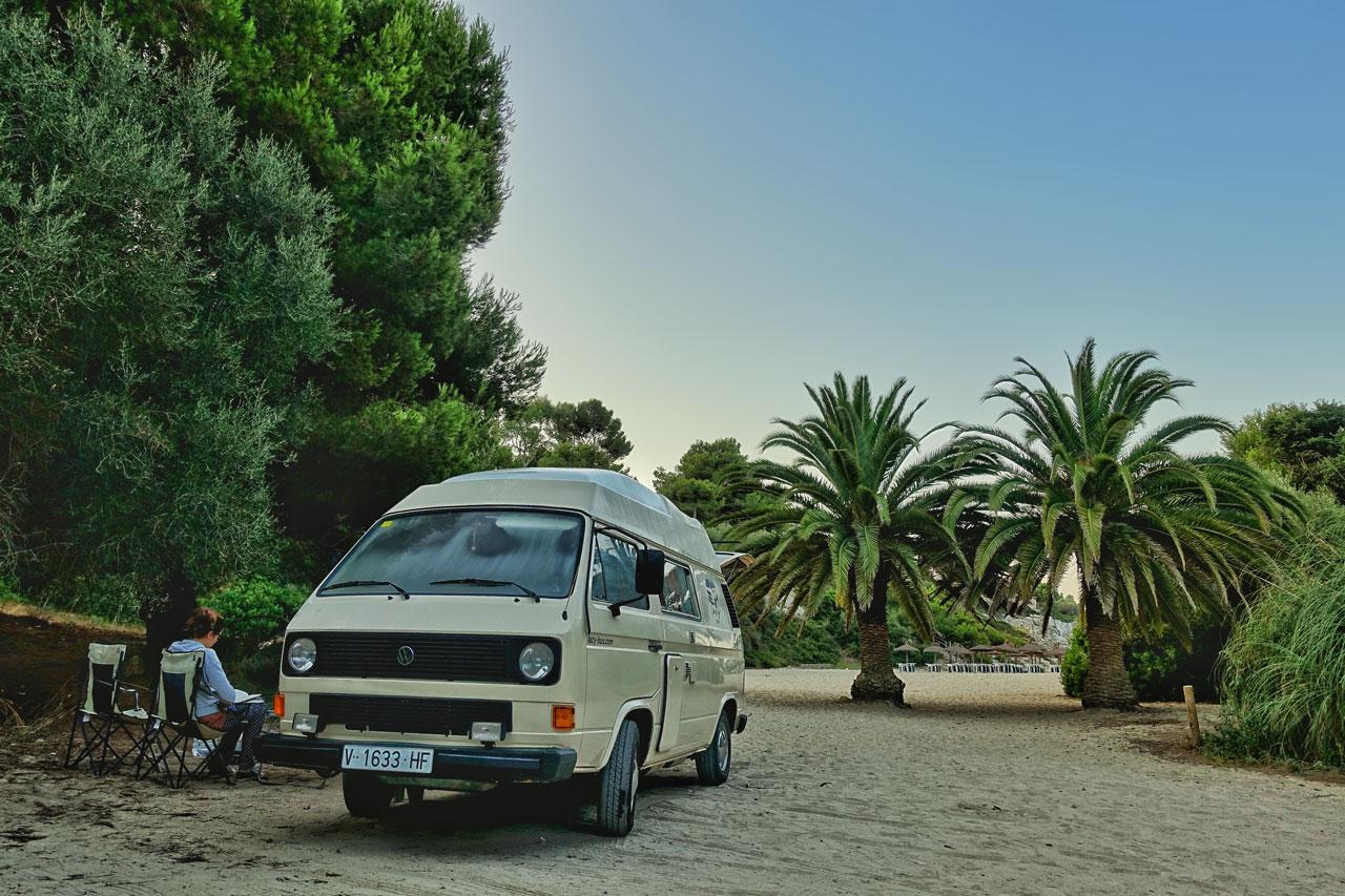 Camping unter Palmen auf Mallorca