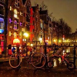 Amsterdam bei Nacht Grachtengürtel Fahrrad