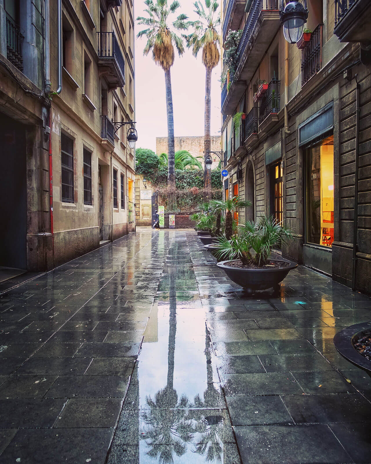 Verregnetes Barcelona